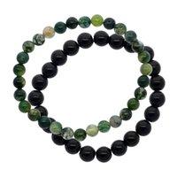 ingrosso erba verde scuro-2019 gioielli in pietra naturale agata verde scuro acqua erba agata perline di pietra braccialetto gioielli naturali retrò