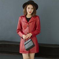 casacos de mulheres de moda de inverno coreano venda por atacado-Casaco de couro falso Mulheres Preto Vermelho 5XL 6XL Plus Size PU Jacket 2019 New Autumn coreano Winter Fashion Mom Além disso Cotton Jacket CX943