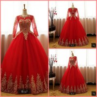 Wholesale wedding dresses hottest bride models online - Vestido de Noiva red ball gown wedding dress long sleeve beaded appliques bridal gowns hollow back sexy cheap bride dresses hot sale