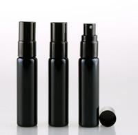 siyah parfüm şişeleri toptan satış-10 ML Taşınabilir Siyah UV Cam Doldurulabilir Parfüm Şişesi Ile Alüminyum Atomizer Boş Parfüm Vaka Gezgin Için