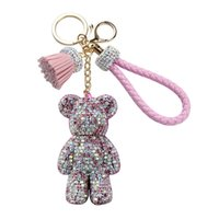 Wholesale crystal bear keychain for sale - Group buy Top Quality Charms Crystal Lovely Violence Bear Keychain Luxury Women Girls Trinkets Suspension On Bags Car Key Chain Key ring Toy Gifts