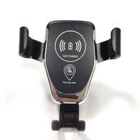 iphone için emiş aparatı toptan satış-Toptan Yerçekimi Araç Montaj Hızlı Kablosuz Şarj iPhone Samsung Kablosuz Şarj Pad Telefon Tutucu Standı Araba Hava Vent Emme Montaj DHL