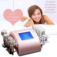 Wholesale home slimming devices resale online - 6 IN cavitation machine handpieces cavitation slim radio frequency skin tighten vacuum massage lipolaser weight loss home salon device