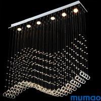 led kapalı tavan fikstürü toptan satış-Lüks LED Kristal Tavan Kolye Işıkları Modern Kristal Avizeler Işık Dikdörtgen Asılı Lambalar Fikstür Kapalı Ev Lamba Alışveriş Merkezi Mağaza