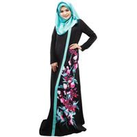 islamische kleidung jilbab abaya großhandel-10 stücke nahen osten türkischen muslimischen frauen dubai abaya kleid islamischen jilbab und abayas kleidung robe musulmane drucken vestidos longos kleider