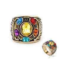 infinito anel de dedo venda por atacado-Dropshipping Marvel 4 Thanos Anéis Homens Infinito Gauntlet Finger Ring Crystsl Jóias