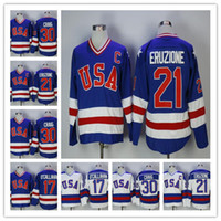 top jerseys usa al por mayor-Vendedora caliente del TOP 1980 EE.UU. Hockey Jersey 30 Jim Craig 21 Mike Eruzione 17 Jack O'Callahan equipo de EE.UU. milagro En alternativo Año jerseys de la vendimia