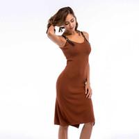 ceinture pour femme achat en gros de-Femme col en V fendue tricotée robe boucle de ceinture robe boucle de réservoir longueur au genou robe sans manches solide