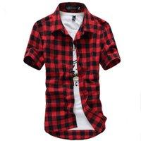 chemise à carreaux rouge noir achat en gros de-2019 nouveau Printemps Rouge Et Noir Chemise À Carreaux Hommes Chemises 2019 Nouvel Été De Mode Chemise Homme Hommes Chemises À Carreaux Chemise À Manches Courtes