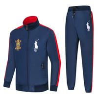 erkek başörtüsü hoodie toptan satış-Sıcak Yeni erkek Hoodies ve Tişörtü Spor Adam Polo Ceket pantolon Koşu Jogging Yapan Setleri Balıkçı Yaka Spor Eşofman Ter Ceket Suits