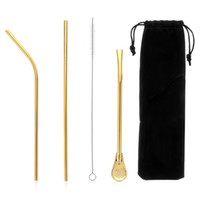 Wholesale 5PCS Stainless Steel Drinking Straws Set Filter Spoon Cleaning Brush Bag Reusable Metal Straw Eco friendly Kitchen Accessories