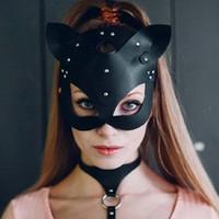 máscara de cuero sexy para las mujeres al por mayor-Las mujeres atractivas media máscara Ojos cosplay cara del gato máscara de cuero de Cosplay de la bola de mascarada del carnaval del partido de Halloween Fantasía Puntales de miedo
