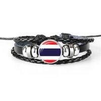 charme armbänder thailand großhandel-Mode Thailand Nationalflagge WM Fußball Fan Zeit Edelstein Glas Cabochon Knopf Armband Echtes Schwarzes Leder Seil Perlen Schmuck Geschenk