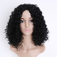 Wholesale wine red short hair resale online - Short Curly Deep Wave Hair Wigs Brazilian Black Women Synthetic Hair Bob Wigs Colors Black Gold Wine Red