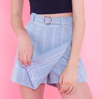 Wholesale korean ladies denim for sale - Group buy Summer New Ladies A line Skirts Women Plaid Slim New Korean Fashion Belt Above Knee Mini Skirts Empire Shorts Skirts Preppy