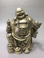 Wholesale china hand statue for sale - Group buy Rare Chinese old Tibetan silver Hand carved Laughing Buddha Maitreya statue