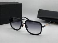 черные старинные квадратные очки оптовых-Mens Square Matte Black Солнцезащитные очки Серые градиентные линзы Vintage Classic Очки солнцезащитные очки UV400 Eyewea Gafas de sol Высокое качество new with box