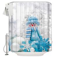 lindas cortinas de baño al por mayor-Navidad cortinas de ducha para baño lindo muñeco de nieve vacaciones copos de nieve baño cortinas de tela impermeable con ganchos baño decoración para el hogar