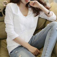 senhoras camisa de linho branco venda por atacado-Moda manga comprida Mulher blusa de linho shirt das senhoras da camisa do bolso Casual Mulheres White Tops Magro elegante fêmea branca blusa E271