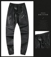 pantalon camouflage noir rouge achat en gros de-2018 hiver haute rue vêtements mens pu pantalons skinny camouflage rouge argent noir crayon sexy
