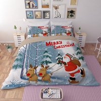 Wholesale bedding set merry christmas online - New D Bedding Sets Merry Christmas Santa Claus and Gift Duvet Cover Bed Sheet Pillow Case Polyester Christmas Gift