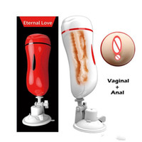 anal toys saugen großhandel-MizzZee Vagina Anal Doppel Tunnel Masturbationschale Sexspielzeug Für Männer Realistische Pussy Männliche Masturbators Saugnapf Sex Produkt