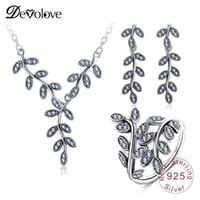 ingrosso collane in oro bianco perla di perle-Devolove festa della mamma 100% 925 sterling silver jewelry set pendenti / orecchini / anelli 3pcs monili di modo delle donne PSST0001-B