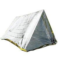 ingrosso pastiglie in alluminio-Outdoor pronto soccorso tenda riparo di emergenza calda coperta di sopravvivenza della tenda riparo pastiglie escursione PE rivestimento in alluminio ricoveri tende da campo a prova di sole