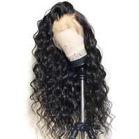 longo cabelo humano lace perucas venda por atacado-Boa Qualidade 100% não transformados remy virgem do cabelo humano longo Nós Descorados Onda Profunda peruca cheia do laço cap peruca para as mulheres