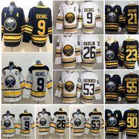 ingrosso pullover di hockey su ghiaccio-Buffalo Sabres 9 Jack Eichel Jersey Hockey su ghiaccio 26 Rasmus Dahlin 53 Jeff Skinner 50TH Anniversary Navy Blue White Uomo Donna Bambini Uomo