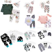 bebek mavi pantolon toptan satış-daha 30 stilleri YENİ Bebek Kız Noel hollowen Kıyafet ROMPER Çocuk Boy Kızlar 3 adet T gömlek + Pantolon + Şapka Bebek Çocuk Giyim setleri set