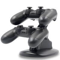 xbox one recargable al por mayor-DUAL Recién llegada LED Estación de cuna de acoplamiento ChargeDock USB Soporte para juego inalámbrico Sony Playstation 4 PS4
