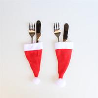 Wholesale spoon pocket knife for sale - Group buy 10PCS Christmas Caps Cutlery Holder Fork Spoon Pocket Christmas Decor Bag Knife Fork Set Cover Supplies Mini Santa Hat