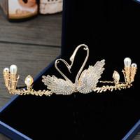 ingrosso abiti da sposa della sposa-Bride's Crown Gold Swan Copricapo Strass Copricapo da sposa Accessori abito da sposa Accessori per capelli corona fascia