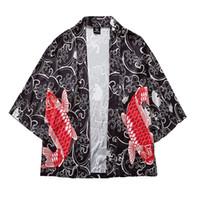 ingrosso yukata-Mens Camicia Cardigan National Fish Print Loose Summer Patchwork giapponese Manica lunga 2019 Hip Hop Yukata Coat Baggy Top Summer