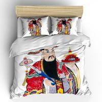 chinesische doppelbetten großhandel-AHSNME Chinesische Kultur Bettbezug Tür Gott Bettwäsche Set Mythische Figur Jogo de Cama Einzel DOuble Größe Dropshipping
