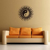 Wholesale buddha wall decor for sale - Group buy Yin Yang Buddha Wall Decals Zen Meditation Wall Sticker For Bedroom Living Room Sun Lotus Art Mural Removable Home Decor H067