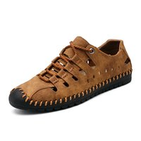 hakiki sandal erkekler toptan satış-Yeni Yaz Erkekler Hakiki Deri Sandalet Iş Rahat Ayakkabılar Erkekler Açık Plaj Sandalet Roma Yaz Su Ayakkabı 1821