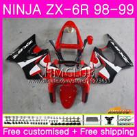 satılık zx kaplama toptan satış-KAWASAKI NINJA Için Zımparalar ZX-6R ZX 6 R ZX6 R ZX-636 ZX600 98 99 Satış Kırmızı Siyah 60HM.12 600CC ZX636 ZX6R 98 99 ZX 636 ZX 6R 1998 1999 Fairing