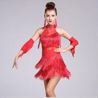 ballsaal kleid samba großhandel-Erwachsene / Kinder Quaste Latin Dance Kleid Frauen Mädchen / Lady Cha Cha / Rumba / Samba / Tango / Gesellschaftstanz Rock Latin Performance Wear