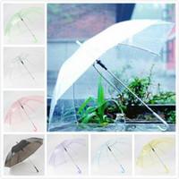 Wholesale transparent plastic hanging resale online - Hot selling transparent umbrella PVC jell umbrella for wedding decoration dance performance colorful umbrellas photo props umbrella