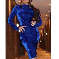 red velvet dress venda por atacado-Turtleneck Corduroy Sexy Bodycon vestidos de veludo longo da luva das mulheres plissadas Bainha Elegant Lady S 2XL Blue Wine Red Vestido de Inverno