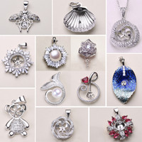 12 Styles New Pearl Necklace Settings 925 Sliver Pendant Settings DIY Pearl Necklace Women Fashion Jewelry with Chain Wedding Gift