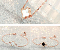 Wholesale luxury xmas gifts online - 18K Rose Gold Bangle Bracelet Earrings Ring Pendant Necklace Set Luxury Clover Charm Lovely Jewelry for Women Valentine Day Xmas Gift