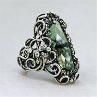Wholesale carving rings resale online - Luxury green coolor shiny bling stone ladies creative carving hollow ring wedding vintage silver jewelry Q3P460