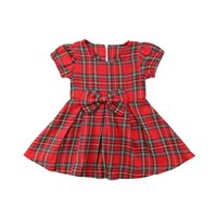 детский красный пояс оптовых-Christmas Newborn Toddler Baby Girl Princess Party Dress Red Plaid Tutu Dresses Belt Bowknot Clothes Summer Casual Clothing