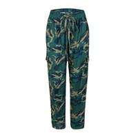 pantalon cargo vert armée femme achat en gros de-Pantalon cargo pour femme Style Army Green Combat Pnat Camouflage Pantalon Femme Pantalon cargo camo Pantalon long
