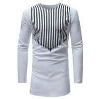 traditioneller kleidermann großhandel-Mode Rundhals männlich Top neue traditionelle afrikanische Art gedruckt Langarm T-Shirt für Männer T-Shirt Startseite Dashiki Kleid