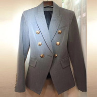 Wholesale stylish blazers fashion for sale - Group buy HIGH STREET New Fashion Stylish Blazer Jacket Women s Lion Gold Buttons Double Breasted Career Blazer Outer Wear