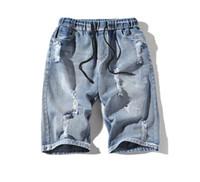новый узор джинсов оптовых-Mens Shorts New Fashion Elastic Waist Fishbone Pattern Knee Length Jeans Mens Straight Casual Shorts Popular Style Five Cent Jeans